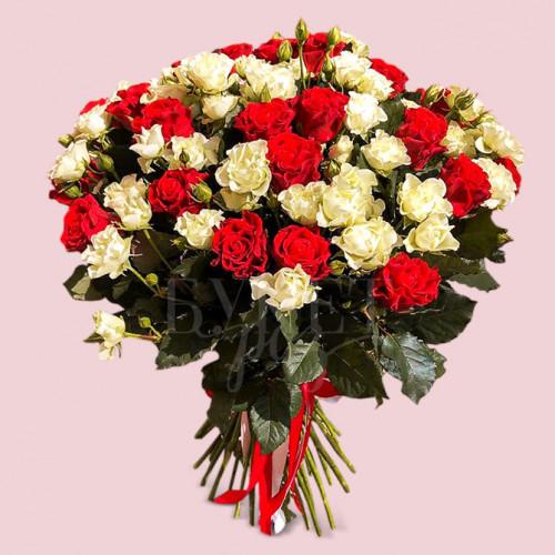 Букет из 51 розы Эль Торо и Сноу Флейк