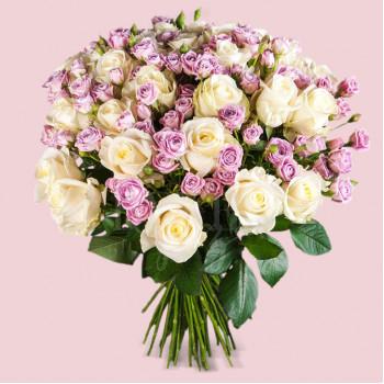"""Букет из 51 розы """"Лавандовое утро"""""""