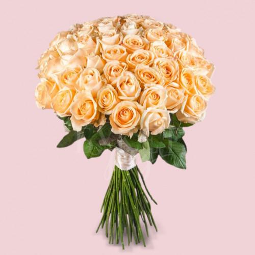 Букет из 51 розы Пич Аваланч