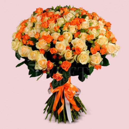 Букет из 101 розы Пич Аваланч и Оранж Фаер